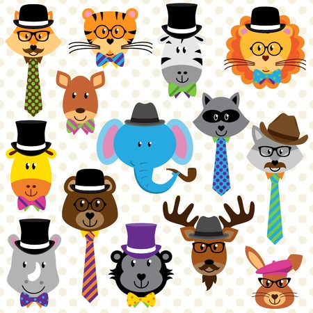 well dressed: Cute Cartoon Collection of Well Dressed Animals
