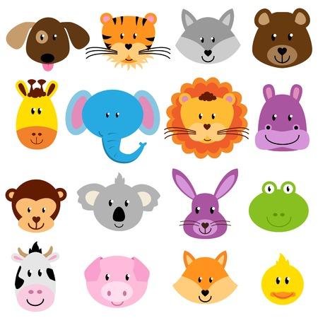 zwierzeta: Wektor Zoo Animal Faces Set