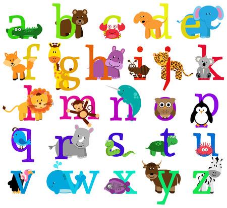 alfabeto con animales: Vector del alfabeto temático Animal