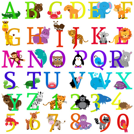 Vector Animal Themed Alphabet Иллюстрация