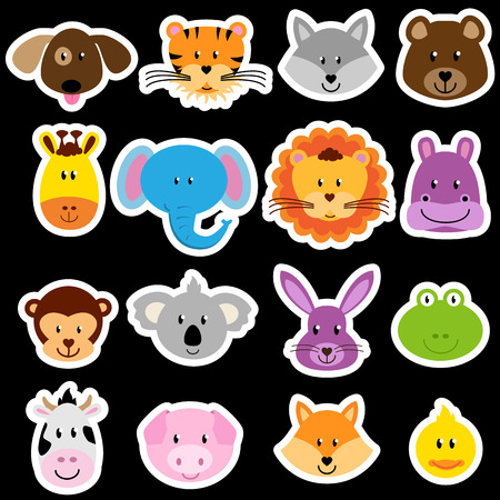 wild rabbit: Vector Zoo Animal Sticker Collection