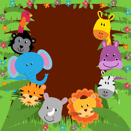 Jungle or Zoo Themed Animal Background Stock Illustratie