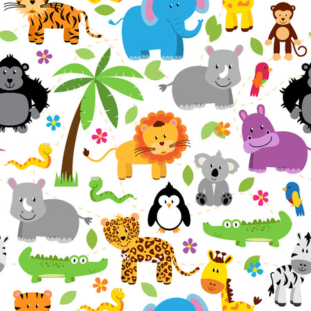 Seamless, Tileable Jungle or Zoo Animal Themed Background Patterns Vettoriali