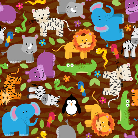Seamless, Tileable Jungle or Zoo Animal Themed Background Patterns Çizim