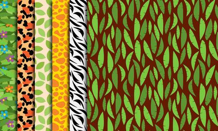 selva caricatura: Seamless, Tileable selva o Zoo Animal Themed patrones de fondo
