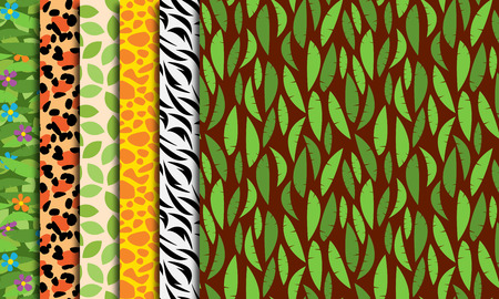 Seamless, Tileable Jungle or Zoo Animal Themed Background Patterns Illustration