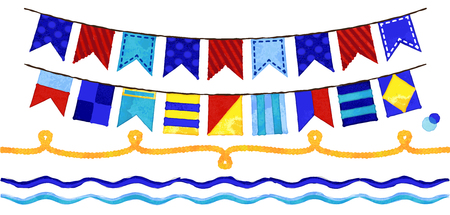nautical flags: Vector Watercolor Style Nautical Rope, Waves and Bunting Flags Illustration