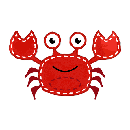 Vector Watercolor Style Crab with Stitching Çizim