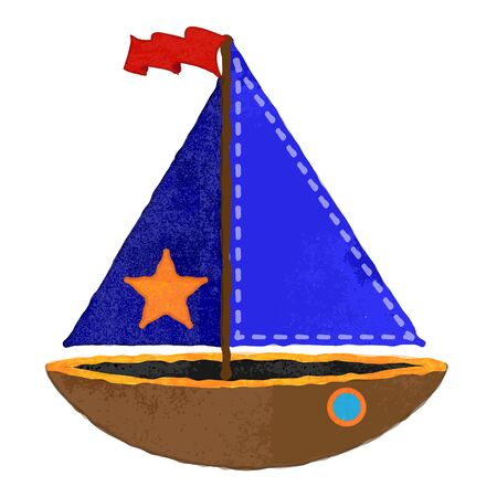 stitching: Vector Watercolor Style Nautical Sailboat with Stitching Illustration