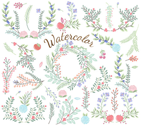 Watercolor Vector Collection of Florals - Great for Weddings and other celebrations Illustration