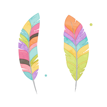 american indian aztec: Vector Set of Watercolor Style Feathers