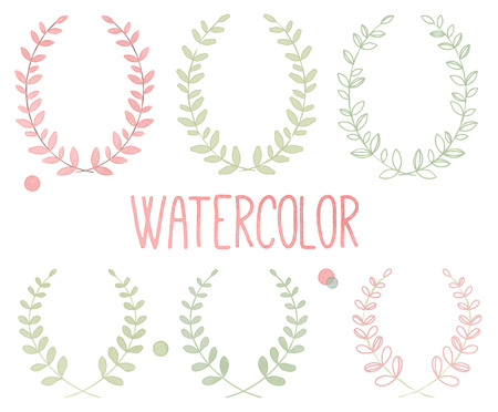 Vector Collection of Watercolor Style Laurels and Botanicals