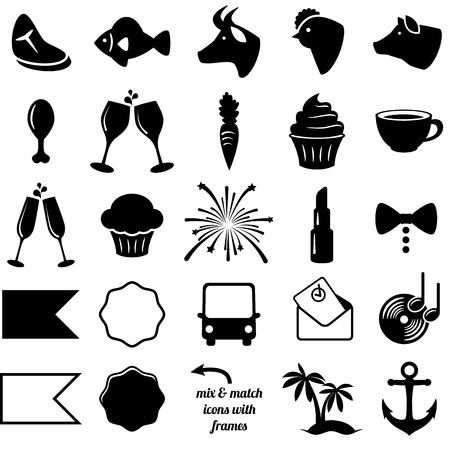 Vector Collection of Wedding and Party Themed Icons Çizim