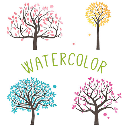 family isolated: Vector Set of Watercolor Style Trees