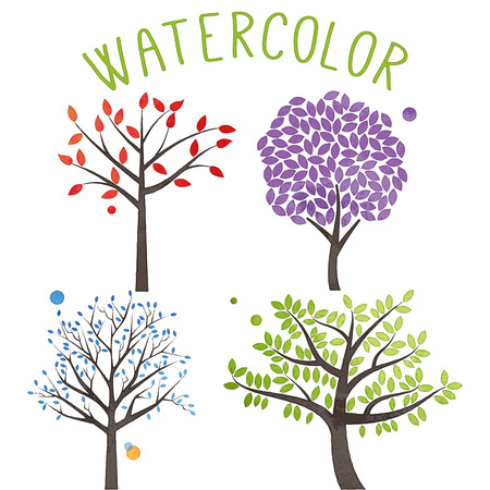 family life: Vector Set of Watercolor Style Trees