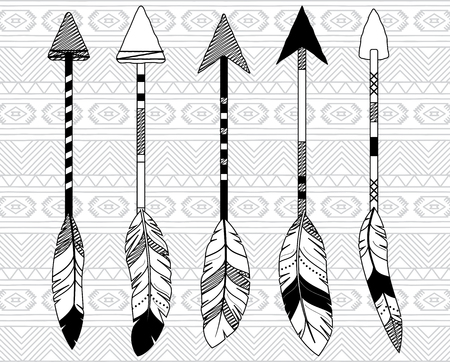 feathered: Vector Collection of Stylized Tribal Feather Arrows