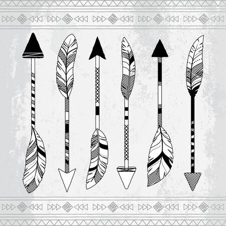 indische muster: Vector Sammlung von stilisierten Tribal Feather Arrows