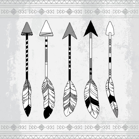 arrows vector: Vector Collection of Stylized Tribal Feather Arrows