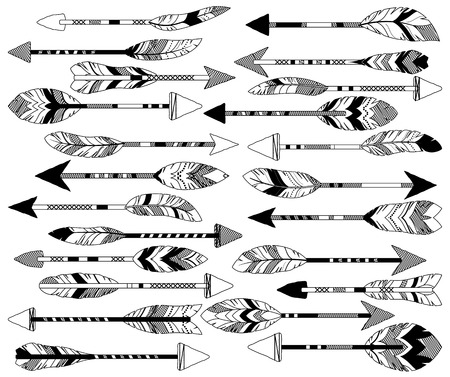 vector ornament: Vector Collection of Doodle Tribal Feather Arrows