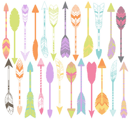 Vector Set of Stylized or Abstract Feather Arrows and Feather Arrow Silhouettes