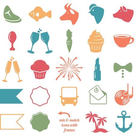 Raccolta di matrimonio e festa a tema icone Vettoriali