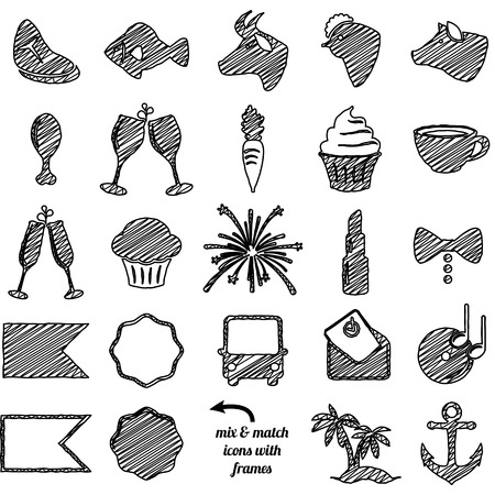 toasting wine: Collection of Doodle and Scribble Style Wedding and Party Icons