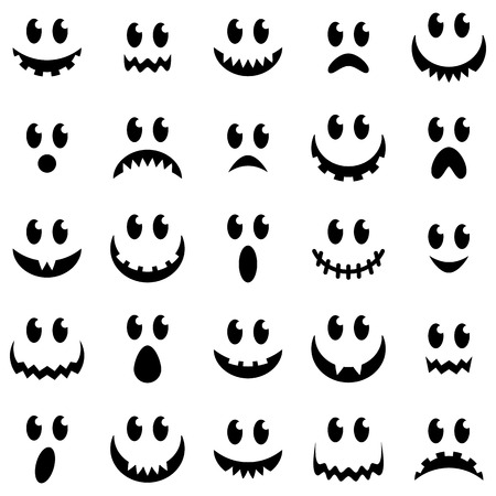 fear cartoon: Vector Collection of Spooky Halloween Ghost and Pumpkin Faces