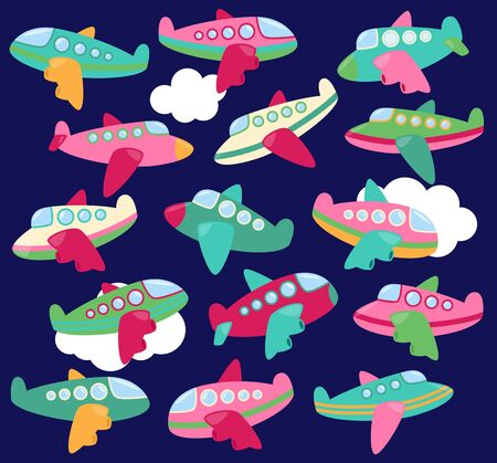 Vector Collection of Cute Airplanes or Airplane Toys Vectores