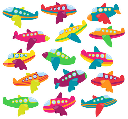Vector Collection of Cute Airplanes or Airplane Toys Illustration