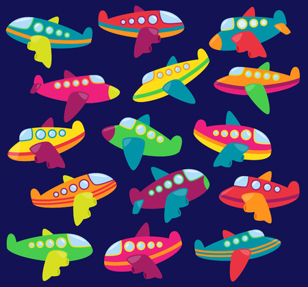 aeroplanes: Vector Collection of Cute Airplanes or Airplane Toys Illustration