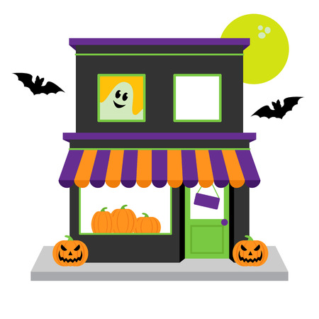 ghost town: Vector Halloween Shop with Pumpkins, Moon and Spooky Accessories