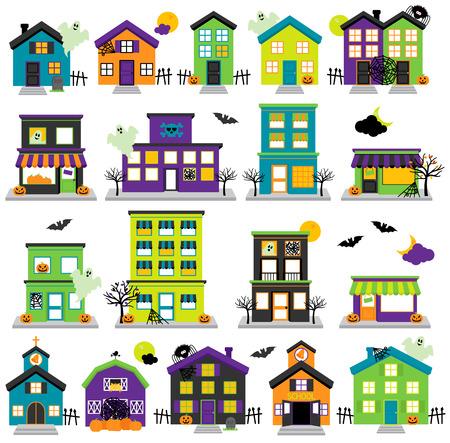 edificio escuela: Vector de Halloween Town con casas encantadas, tiendas, escuela, iglesia y Edificios Vectores