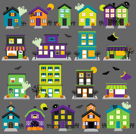 spooky: Vector Halloween Town with Haunted Houses, Shops, School, Church and Buildings