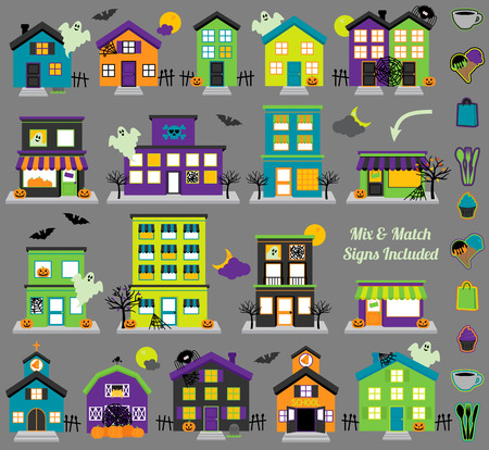 haunted: Vector Halloween Town with Haunted Houses, Shops and Mix and Match Signs