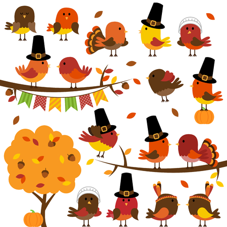Vector Collection of Cute Thanksgiving and Autumn Birds