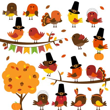 Wektor Kolekcja cute Dziękczynienia i jesienią ptaki Ilustracja