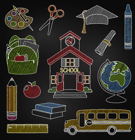 utiles escolares: Vector Conjunto de dibujado mano pizarra Doodle Escuela Vectores Vectores