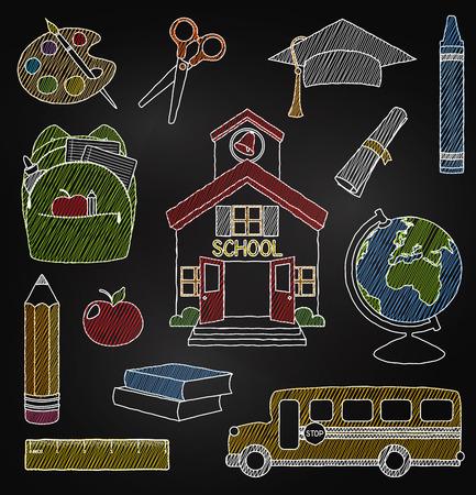 school supplies: Vector Set of Hand Drawn Chalkboard Doodle School Vectors