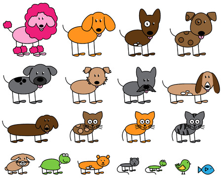 Vector Collection of Cute Stick Figure Pets and Animals  イラスト・ベクター素材