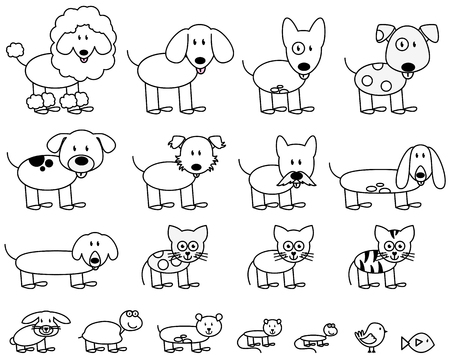 pug dog: Vector Collection of Cute Stick Figure Pets and Animals Illustration