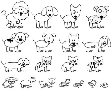 Vector verzameling van leuke Cijfer van de Stok Huisdieren en Dieren Stock Illustratie