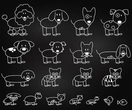 칠판 스타일 막대기 그림 애완 동물의 벡터 컬렉션