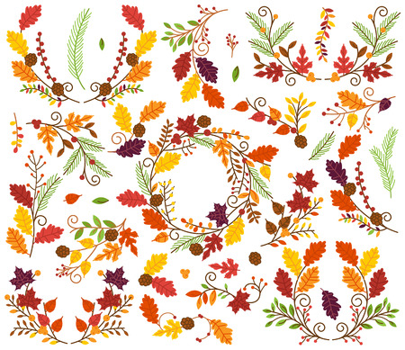 oak wreath: Vector Collection of Autumn and Thanksgiving Themed Floral Elements or Laurels Illustration