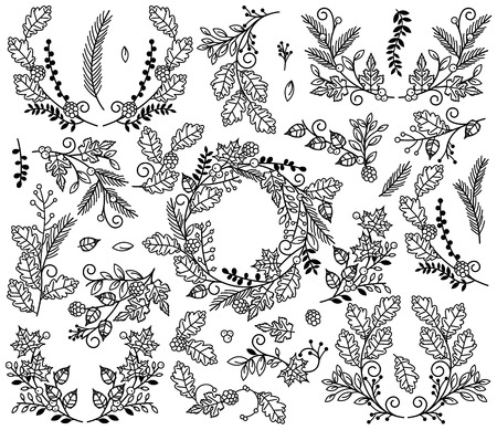 Vector Collection of Autumn and Thanksgiving Themed Floral Elements or Laurels Illustration