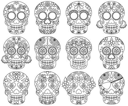 Vector Colección del Día del Doodle de los cráneos muertos o los cráneos del azúcar