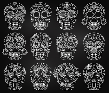 traje mexicano: Vector Colección del Día de la pizarra de los cráneos muertos o los cráneos del azúcar