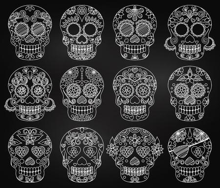 Vector Verzameling van Schoolbord Dag van de Dode Schedels of Sugar Skulls Stock Illustratie