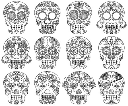Vector Collection of Doodle Day of the Dead Skulls or Sugar Skulls Çizim