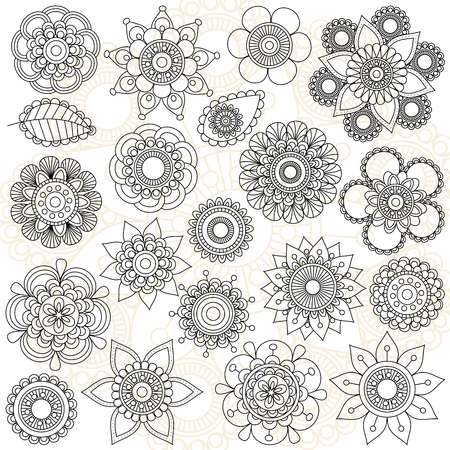 Vector Collection of Doodle Style Flowers or Mandalas Stok Fotoğraf - 46778597