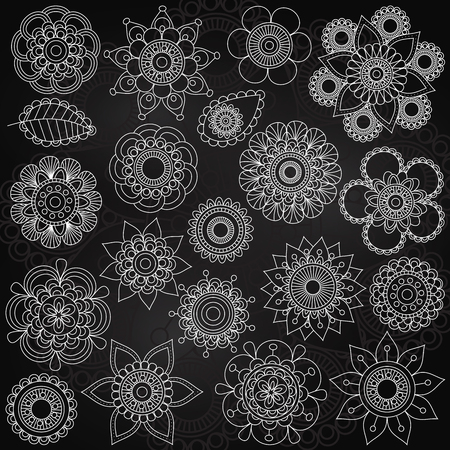 vector ornament: Vector Collection of Chalkboard Style Flowers or Mandalas